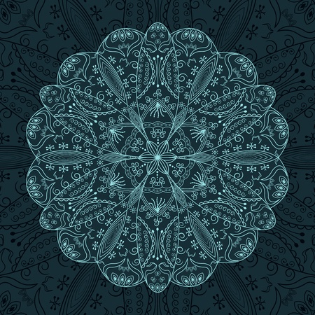 victorian people: Round lace decoration on a dark background Illustration