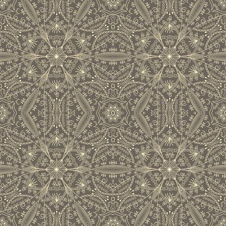 beige stof: vintage behang met kant naadloos patroon Stock Illustratie