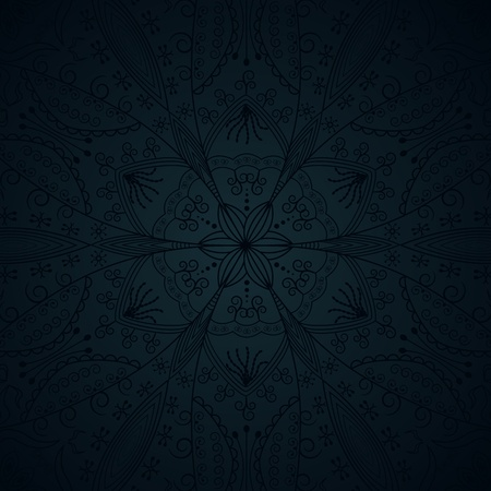 classical style: seamless pattern with floral elements on a dark background
