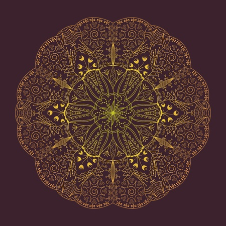 Round lace design with a flower Vector