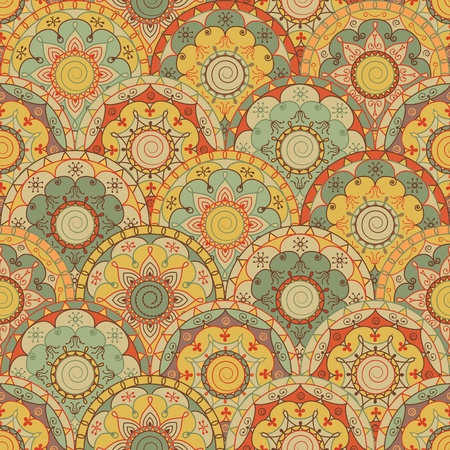 レトロな色のついた丸と抽象的なシームレス デザイン
