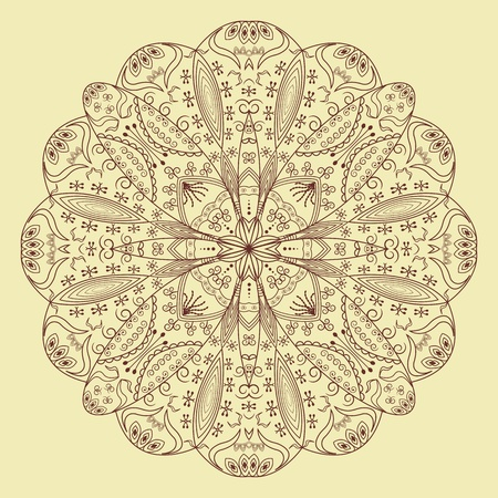 Round lace floral pattern on a beige background