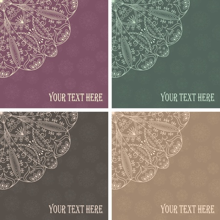 set of four cards with stylish lace decoration     Vector