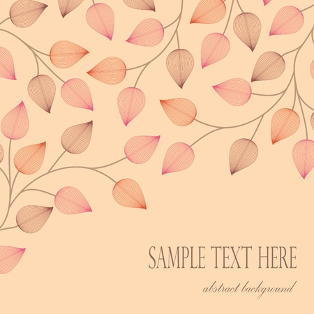card with decoration of leaves on a light background with swirls  Vector