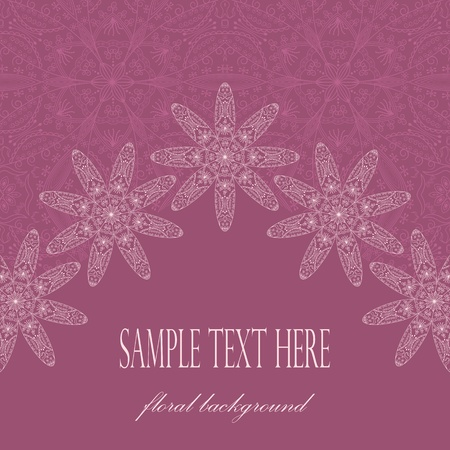 Elegant card with flowers on lace background    Vector