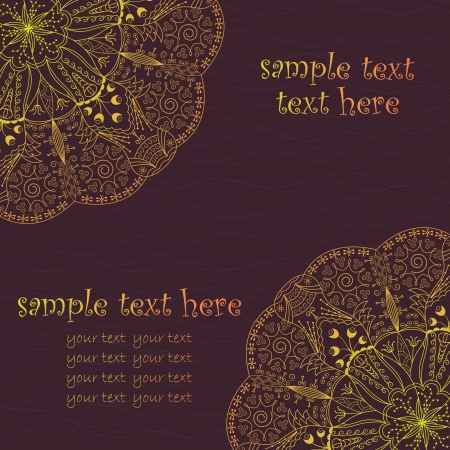 Greeting card with lace pattern in bright colors  Vector