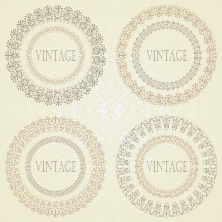 Collection of vintage round frames with a damask wallpaper on a light background   Vector