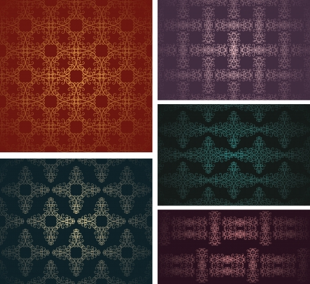 Set of five samples of vintage wallpaper in different colors    Vector