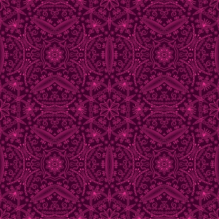 Stylish wallpaper with many elements in a bright pink color on a dark background. Seamless pattern  Vector