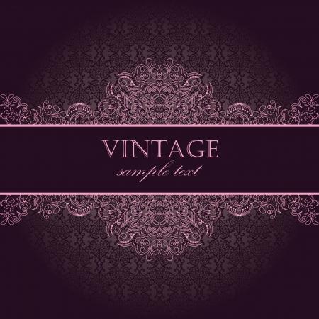 Elegant vintage card with damask seamless wallpaper  Illustration