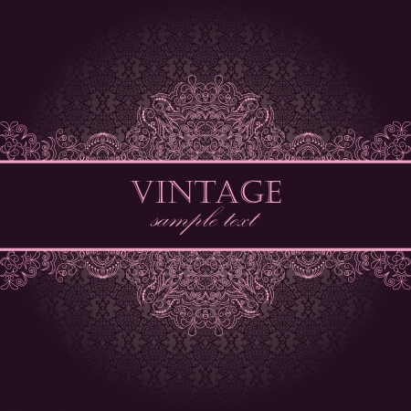 Elegant vintage card with damask seamless wallpaper  Illustration
