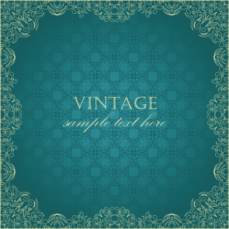 Elegant vintage square frame with damask seamless wallpaper  Vector
