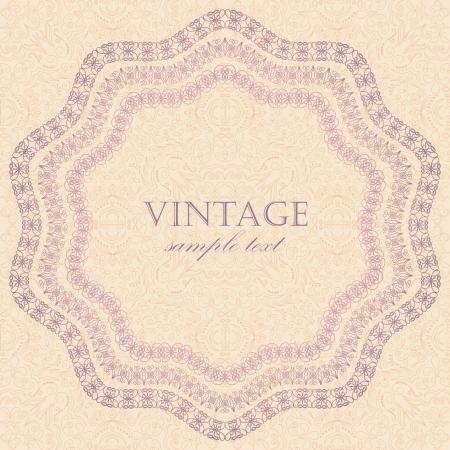 Elegant vintage frame on seamless background in pastel colors     Vector