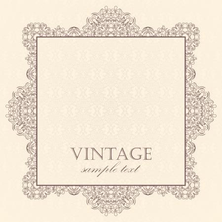Elegant vintage card on a light damask background Vector