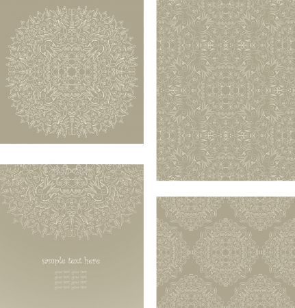 set consisting of a round floral pattern, elegant card and two samples of seamless wallpaper in pastel colors Vector