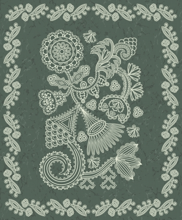 Floral pattern in a vintage frame on grunge background   Vector