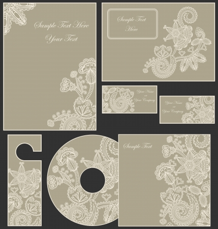 Corporate Template With Floral Ornament    Vector