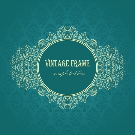Elegant frame on a blue background with seamless damask wallpaper