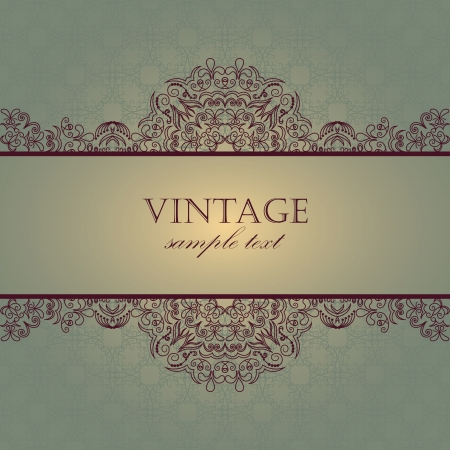Elegant card with vintage frame and seamless background    Vector