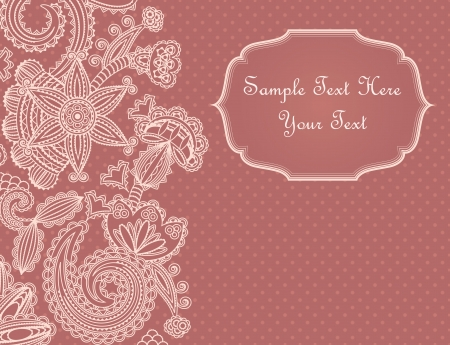 Vintage card with floral pattern and a place for text Vector
