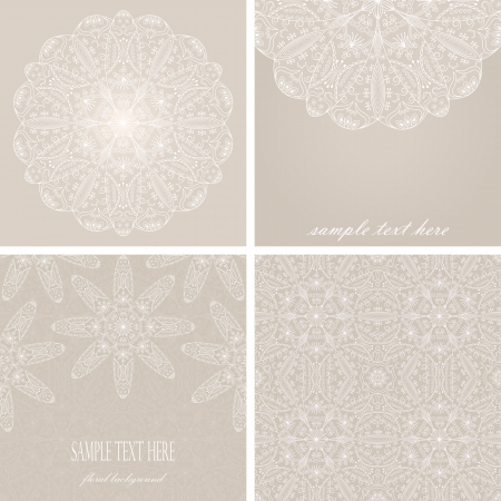 set consisting of round pattern, the two cards and seamless wallpaper of floral lace pattern Vector