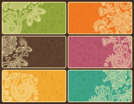 Set of business cards with abstract floral pattern and grunge background in bright colors  Vector