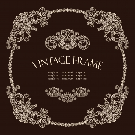 Vintage round frame with floral decoration. Retro style    Vector