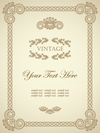 Original vintage frame. Can be used as a diploma or certificate      Stock Vector - 14256794