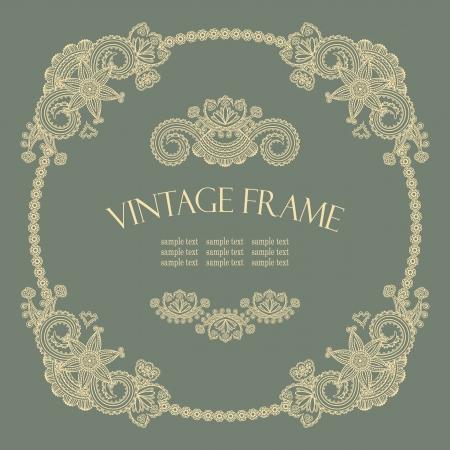 lace border: Elegant vintage round frame in retro style