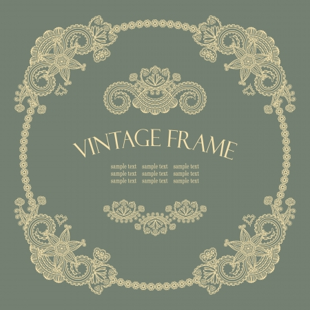 Elegante marco redondo vintage en estilo retro