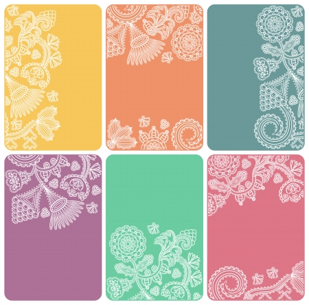 Set of cards with an abstract floral pattern in bright colors. Can be used as business cards Illustration