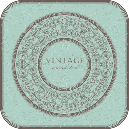 The original grunge card with a round frame in the center        Vector