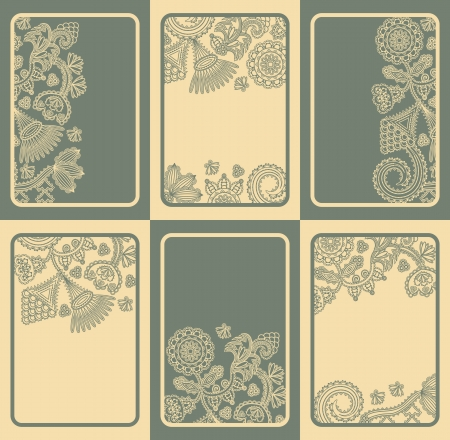 Set of six cards with floral designs in two colors. Can be used as invitations, greeting cards, business cards and other      Vector
