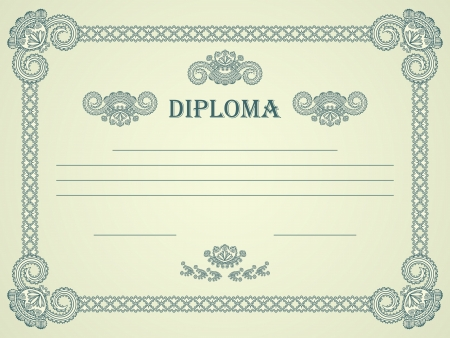 diploma border: Vintage frame. Can be used as a template for a diploma, certificate and other. Horizontal position    Illustration
