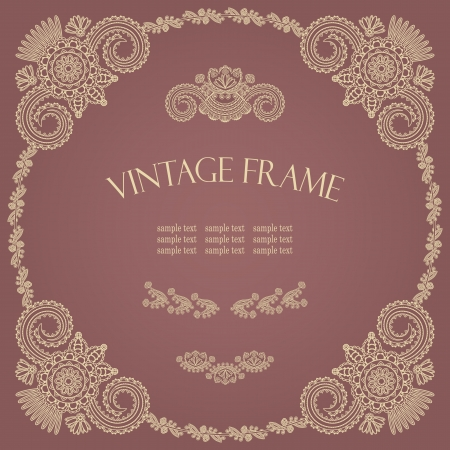 Vintage round frame with floral decoration      Vector