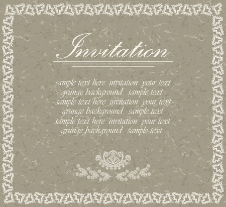 greeting card invitation wallpaper: Elegant invitation with grunge background     Illustration
