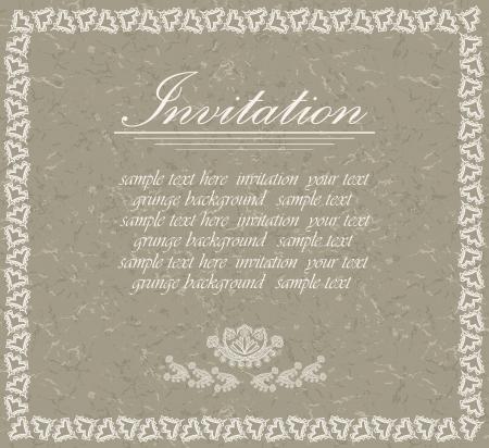 beige stof: Elegante uitnodiging met grunge achtergrond