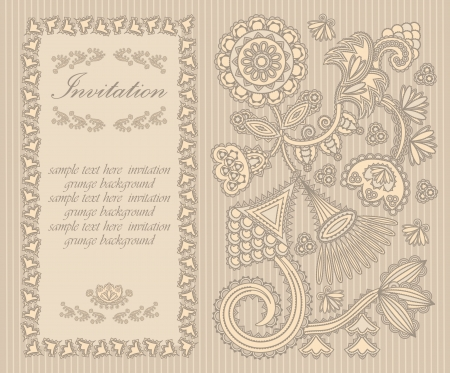 Elegant invitation with floral pattern and vintage frame in pastel colors     Vector