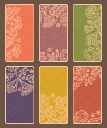 vertical: Juego de seis tarjetas de visita con el fondo del grunge. La posici�n vertical Vectores