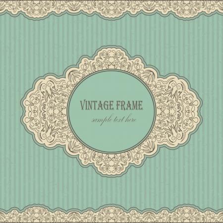 Vintage retro frame on blue grunge background      Ilustracja