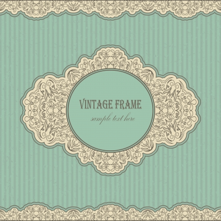 Vintage retro frame on blue grunge background      Illustration