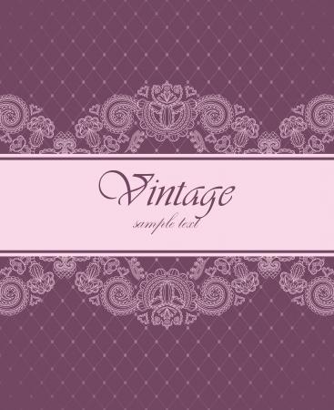 inbjudan: Elegant vintage inbjudan med blommönster