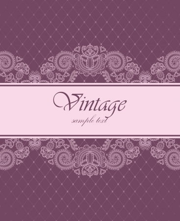 Elegant vintage invitation with floral pattern       Иллюстрация