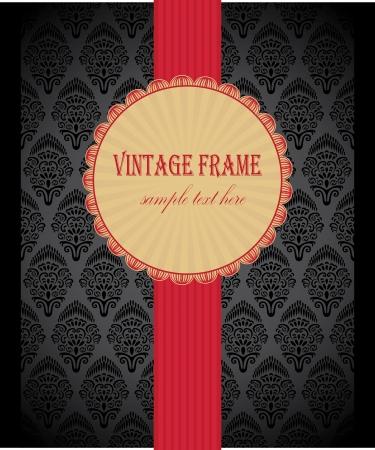 ruban noir: Carte élégante avec un ruban rouge sur noir papier peint sans soudure