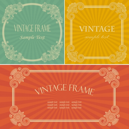 Collection of vintage frame with floral decoration on the radiant background   Vector