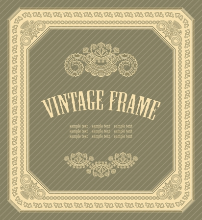 Original vintage frame, floral ornament, striped background     Vector