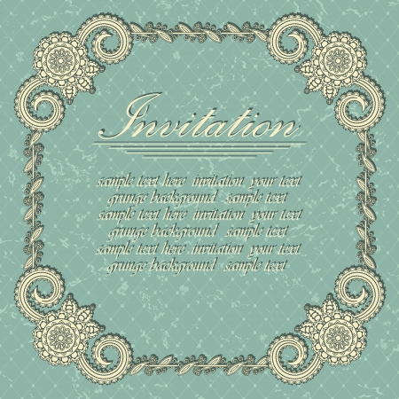 Elegant invitation with a vintage frame on blue grunge background. Retro design     Vector