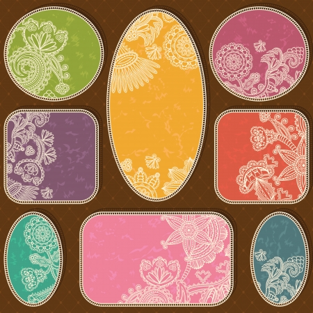 set of vintage frames of various shapes with floral ornament and grunge background     Vector