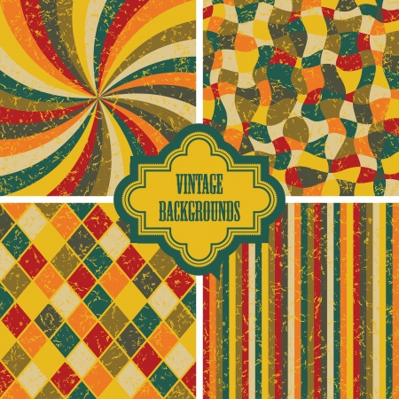 Set of four vintage background. Seamless textures, retro design     Vector