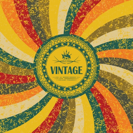sunbeam background: Vintage round label on the abstract background with colored rays      Illustration